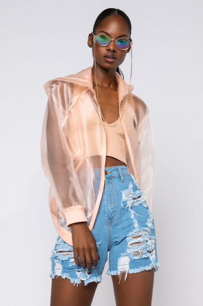 Front View Sheer Intentions Jacket in Pink