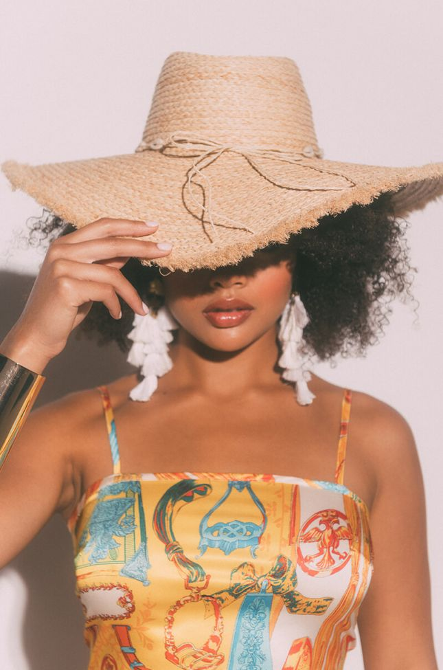 Front View Shell Shocked Straw Hat in Ivory
