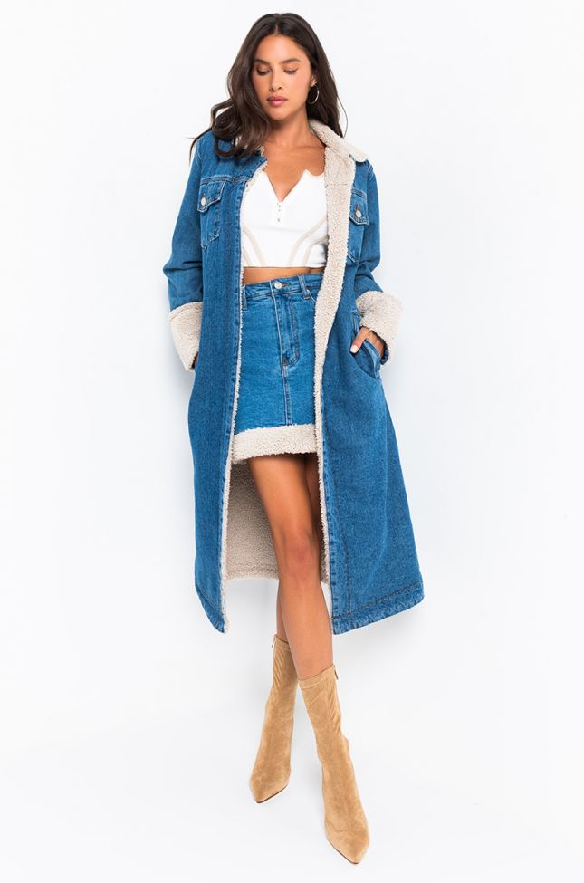 Front View Sherpa Game Strong Denim Trench Jacket in Medium Blue Denim