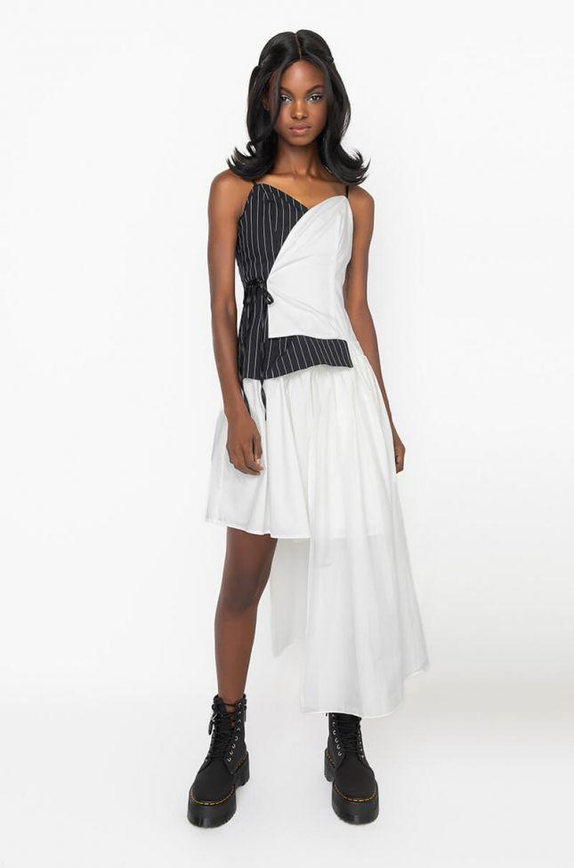 Front View Shes A Lady Asymmetrical Hem Dress in White Multi