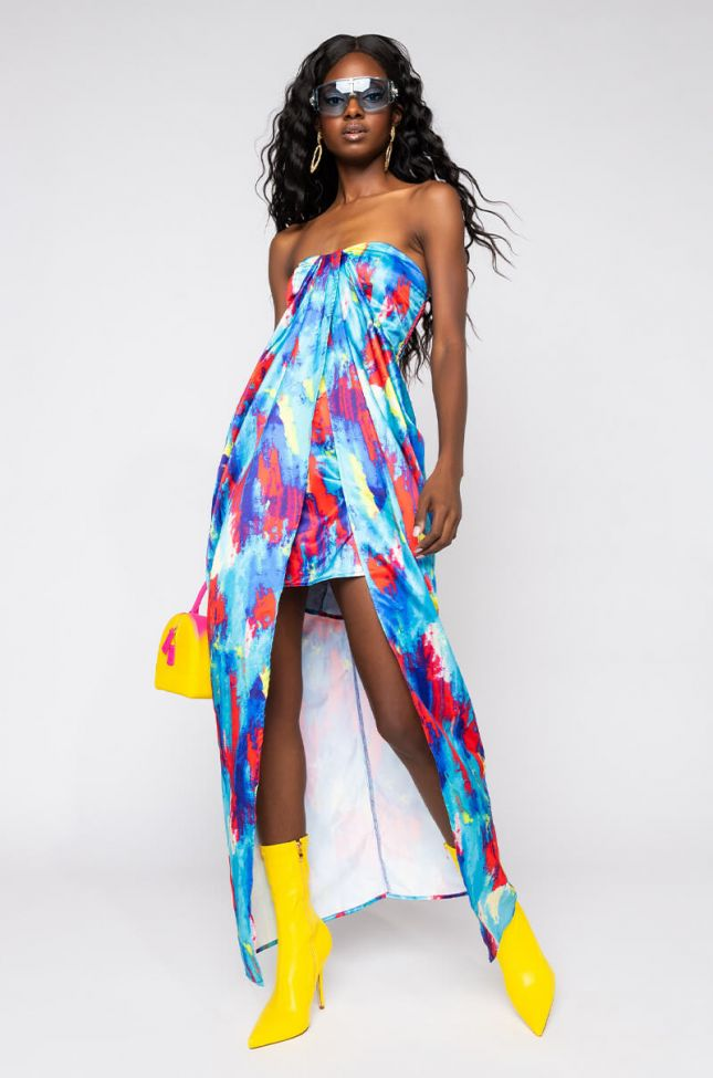Front View Shes A Mystery High Low Tube Dress in Blue Multi