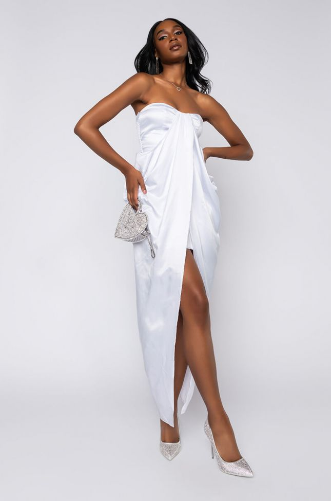 Front View Shes A Mystery High Low Tube Dress in White