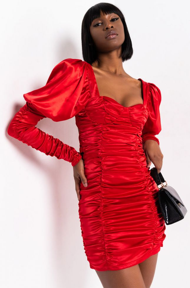 Front View Shes A Peach Satin Tie Back Mini Dress in Red