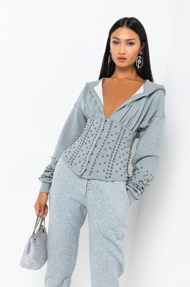 Front View Shes A Star Studded Sweatshirt in Heather Grey