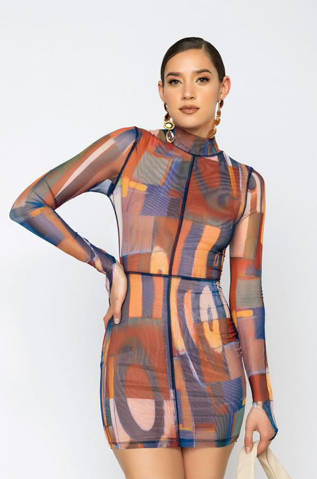 Front View Shes A Wild One Long Sleeve Mesh Midi Dress in Blue Multi
