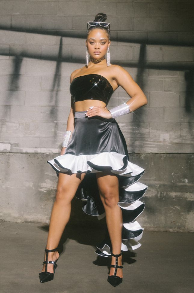 Shes Arrived Ruffled Satin High Low Skirt in Black Multi