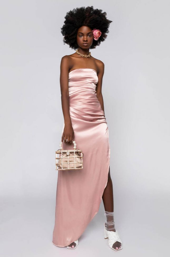 Front View Shes Arrived Sleeveless Satin Dress in Nude
