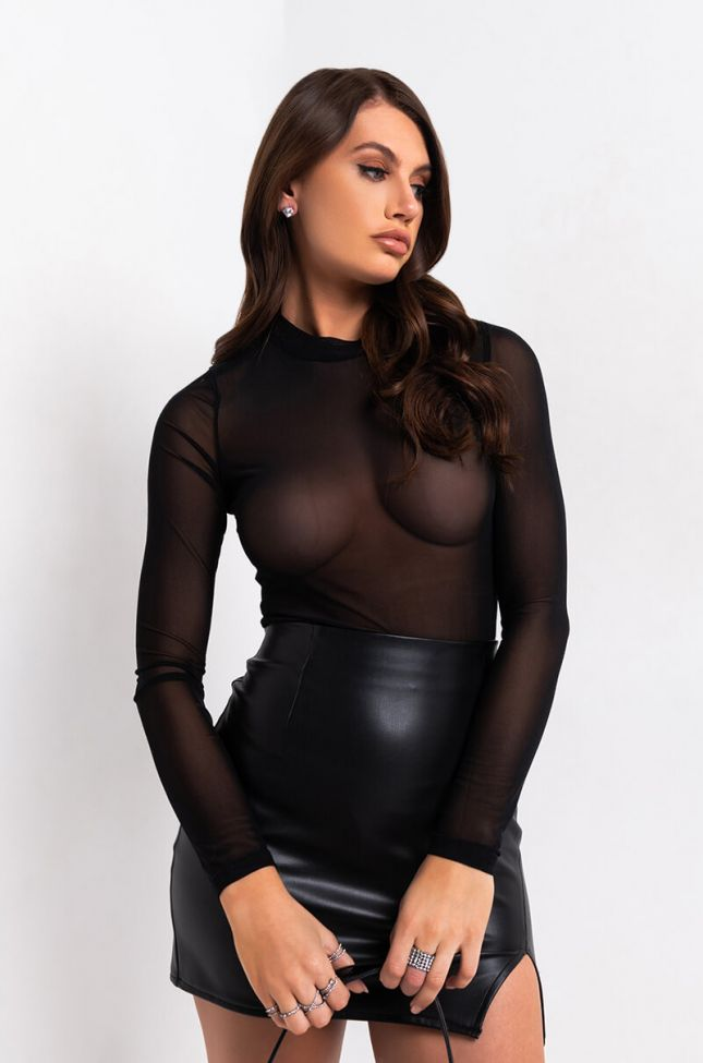 Front View Shes Gotta Have It Mesh Bodysuit  in Black