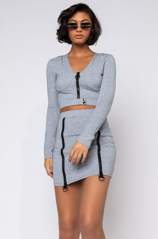 Front View Shes Not Cut Like Me Crop Long Sleeve With Zipper in Heather Grey
