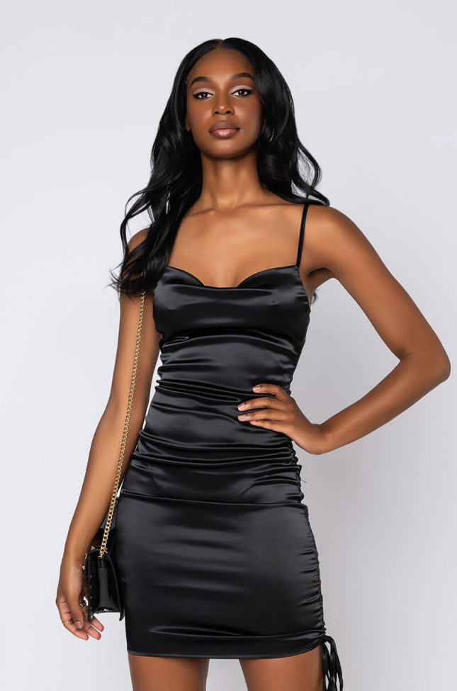 SHES SOLID RUCHED MINI TANK DRESS