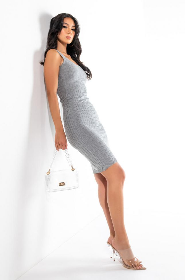 Extra View Shes Super Cute Ribbed Bodycon Midi Dress