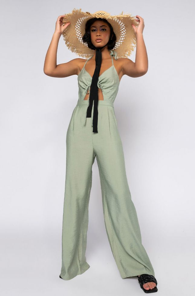 Front View Shes Your Passion Sleeveless Jumpsuit in Light Green