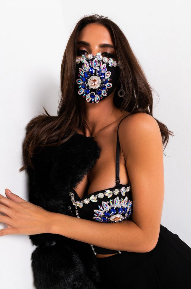 Front View Shine Bright Fashion Face Cover in Black Multi