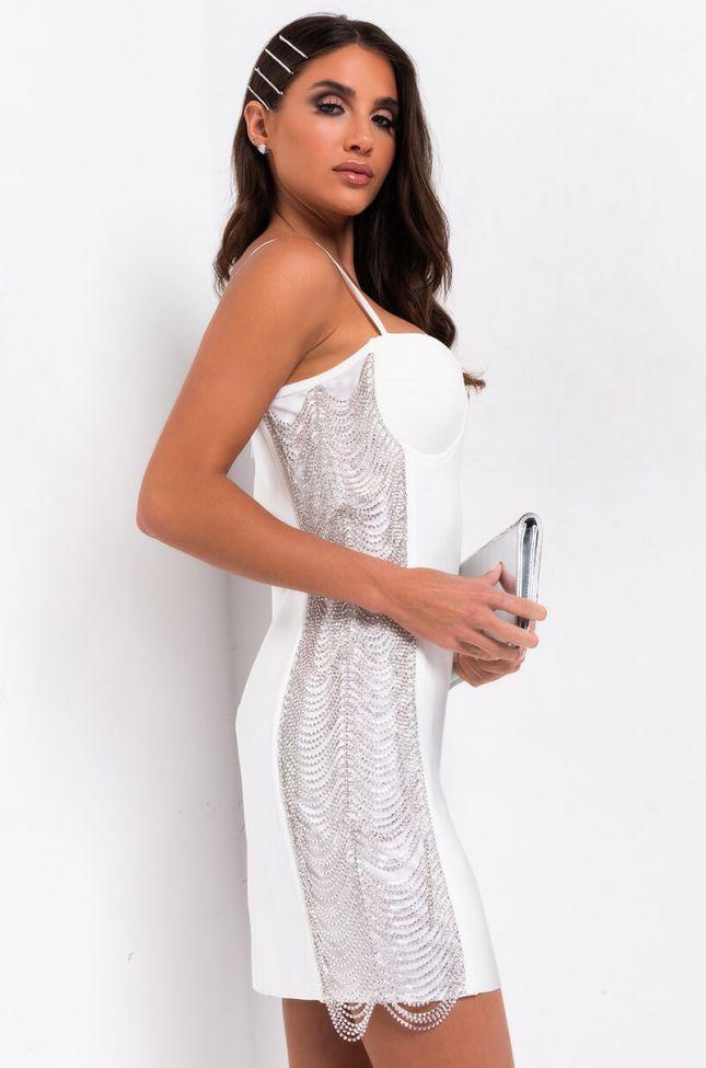 Back View Shine On Baby Rhinestone Bandage Mini Dress in White