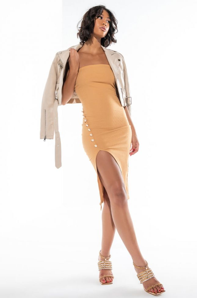 Front View Shoot For The Stars Cross Front Strapless Midi Dress