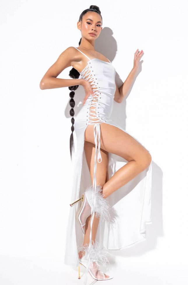 Side View Show A Little Leg Satin Lace Up Maxi Dress in White