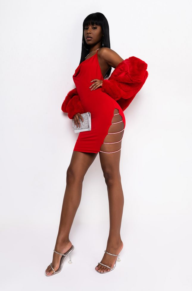 Show It Off Halter Leg Strap Up Mini Dress in Red