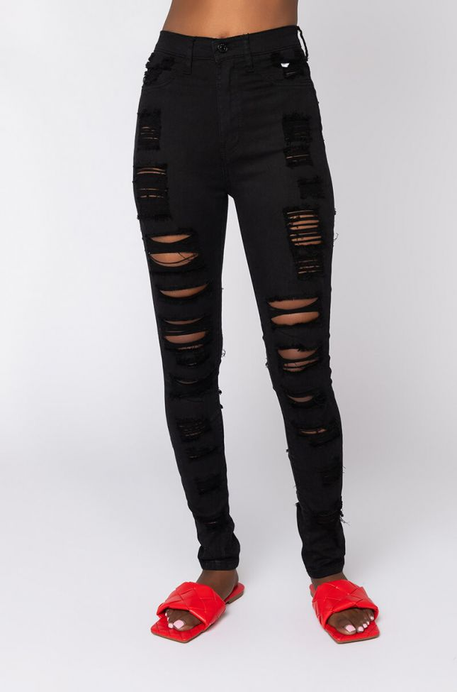 Front View Show Me Baby Distressed Skinny Jeans in Black