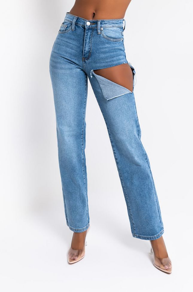 Front View Show Me More High Waisted Straight Leg Jeans in Medium Blue Denim