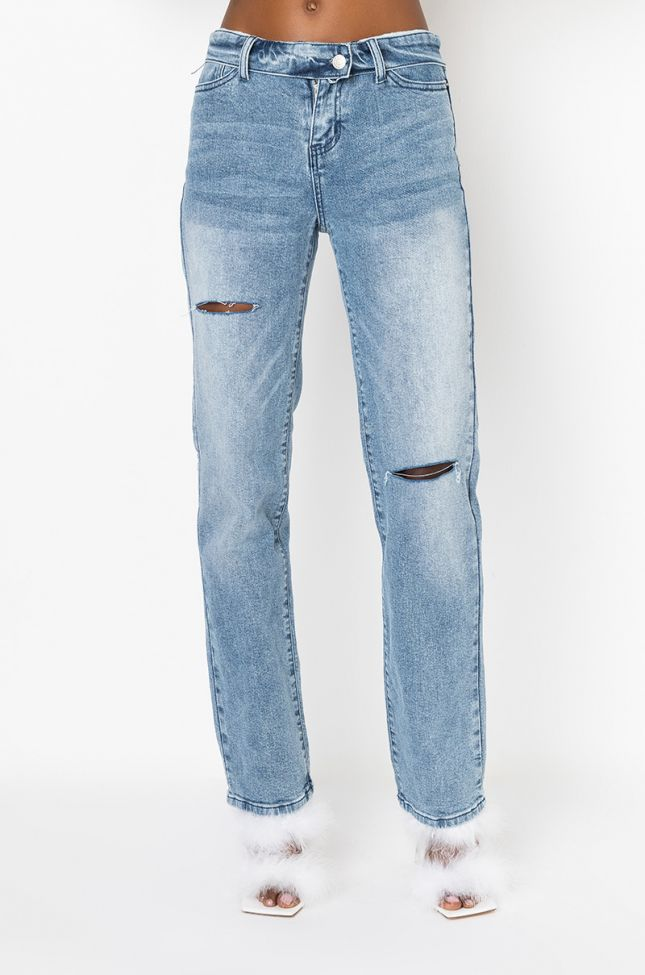 Front View Show Me What You Got Low Rise Straight Jeans in Medium Blue Denim