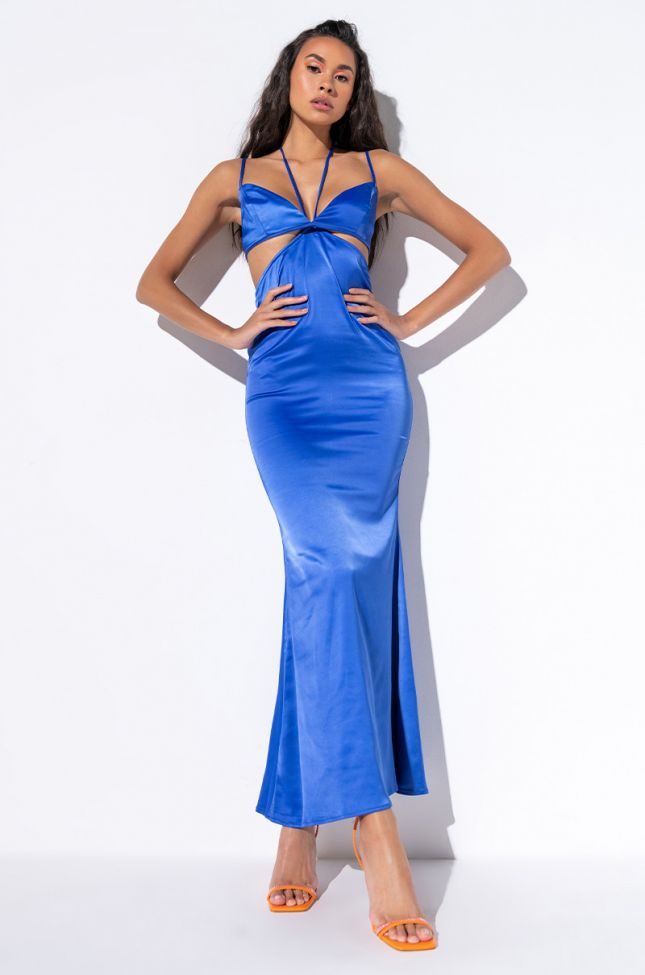 Front View Show Out Maxi Dress in Royal Blue