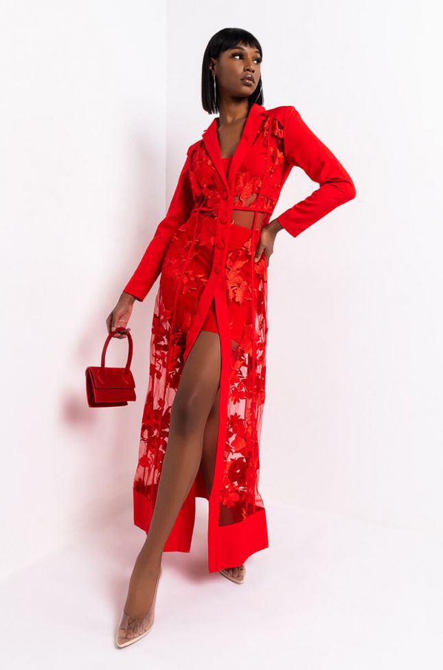 Side View Showout Long Sleeve Lace Maxi Dress in Red