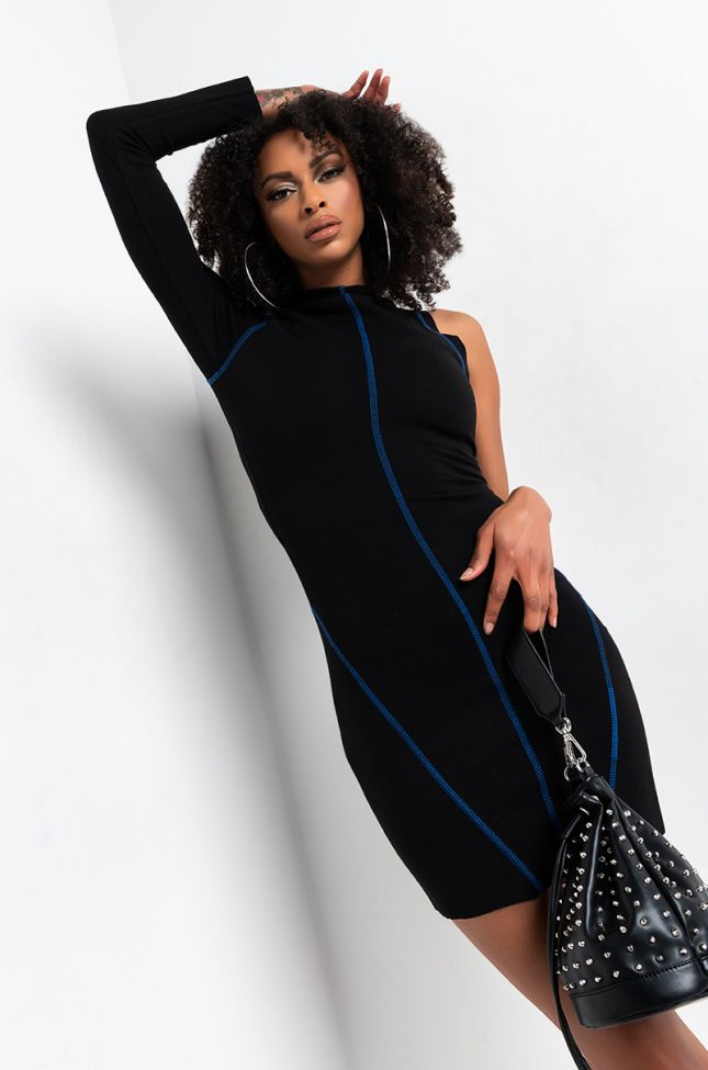 Front View Shut It Down One Sleeve Collared Mini Dress in Black