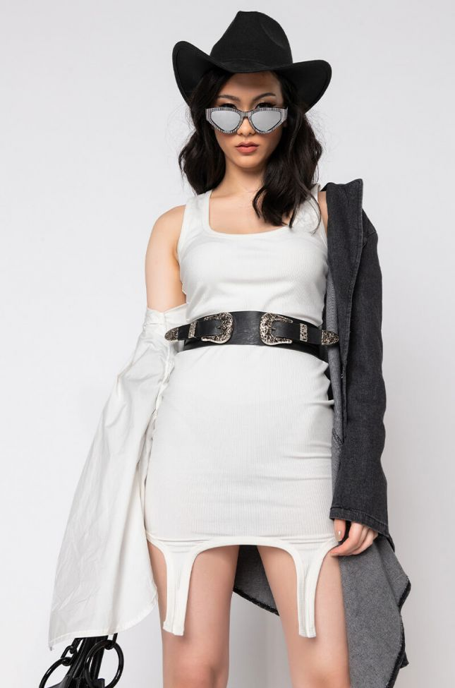 Front View Shy Girls Only Ribbed Tank Dress in White