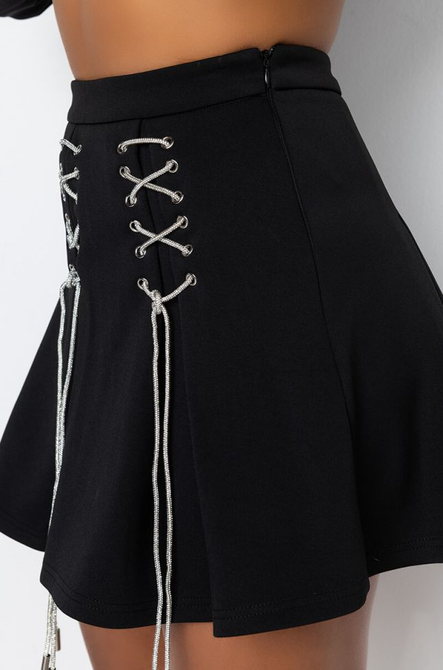 Detail View Sicker Than Your Average Rhinestone Lace Up Skirt