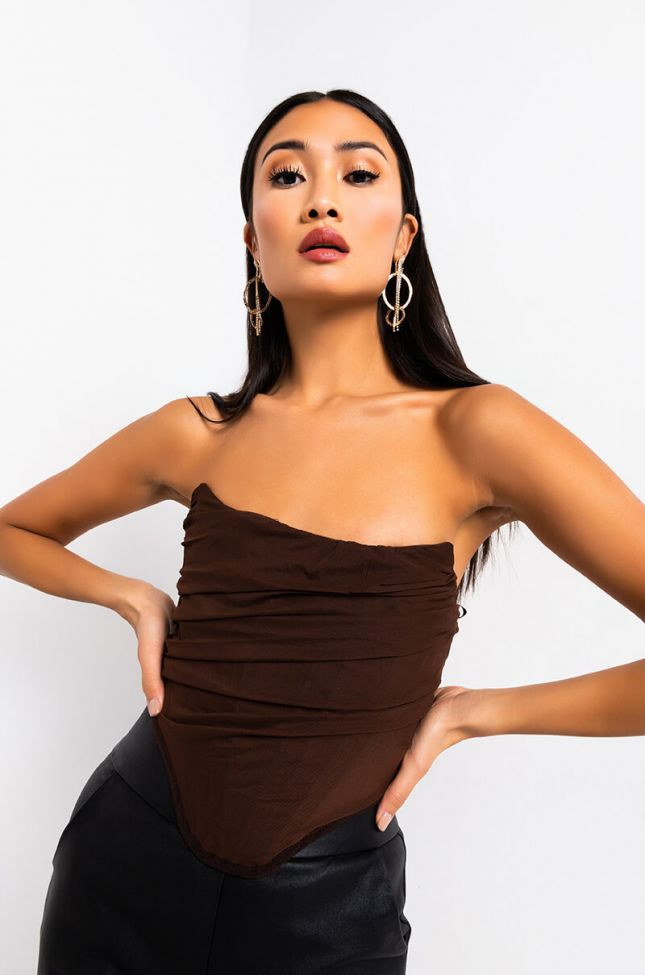 Front View Simple Chic Mesh Corset in Brown