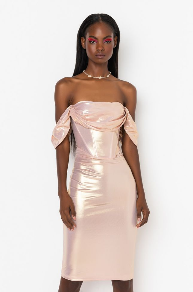Front View Simply That Bitch Off The Shoulder Midi Dress in Pink