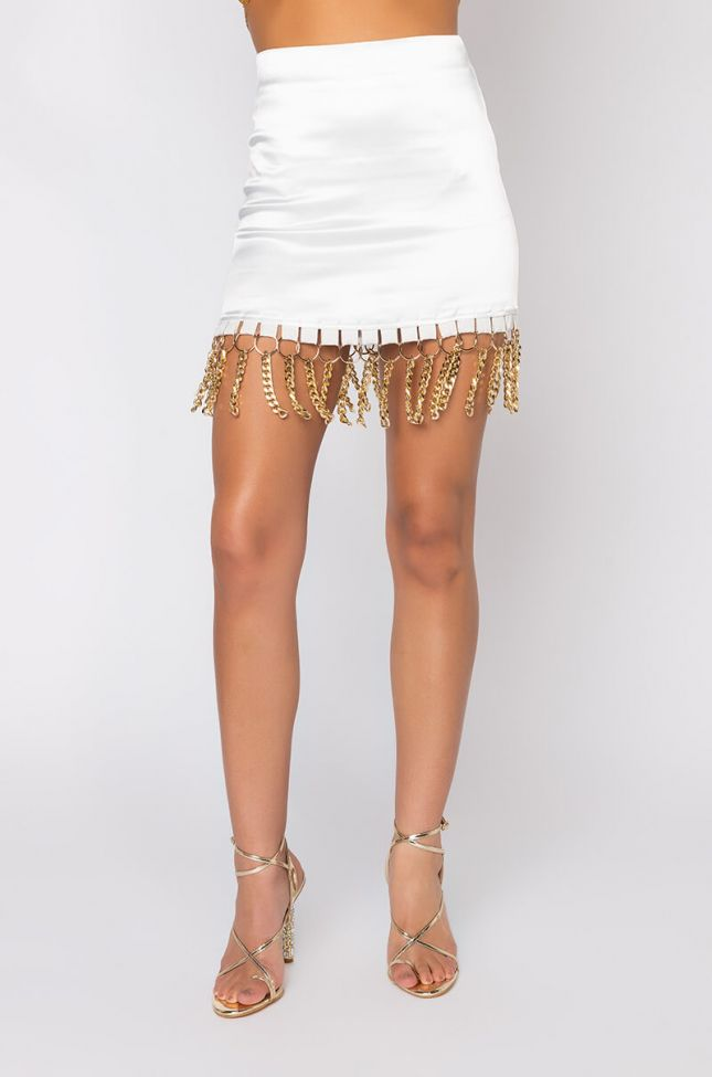 Front View Sissy Stretchy Satin Mini Skirt in White