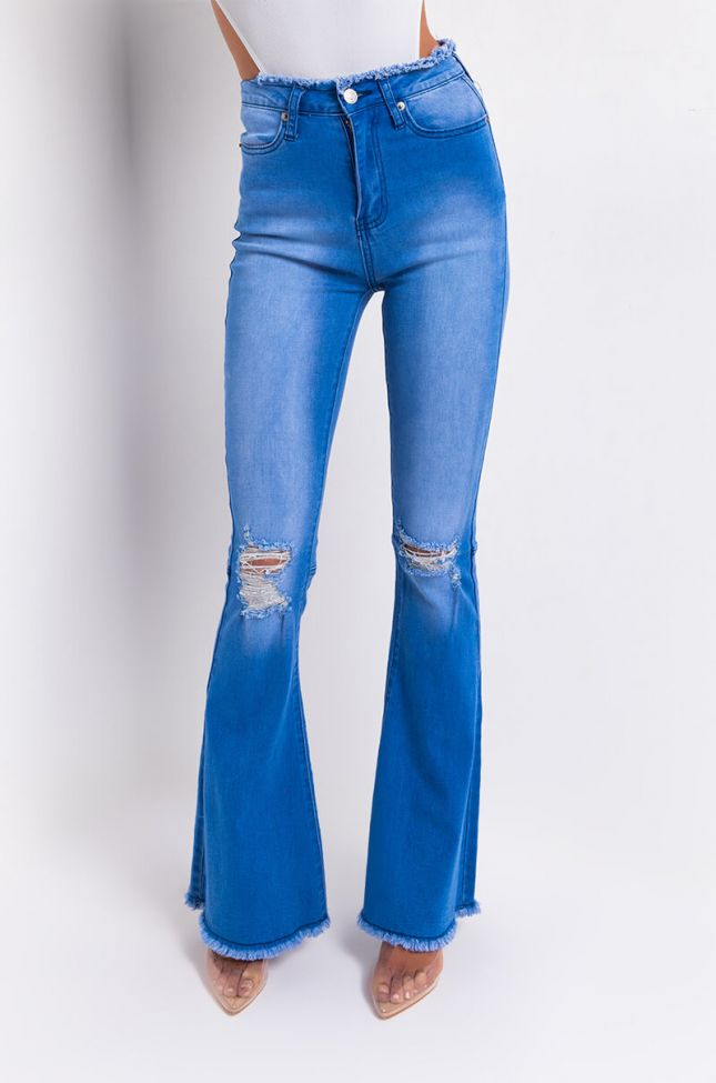 Front View Sky Flare Jeans in Blue