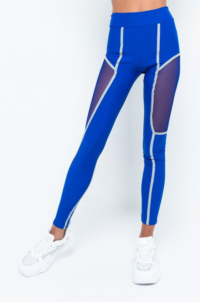 Front View Sky Walker High Waisted Legging in Blue