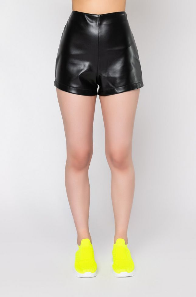 Front View Slick High Waist Faux Leather Shorts in Black