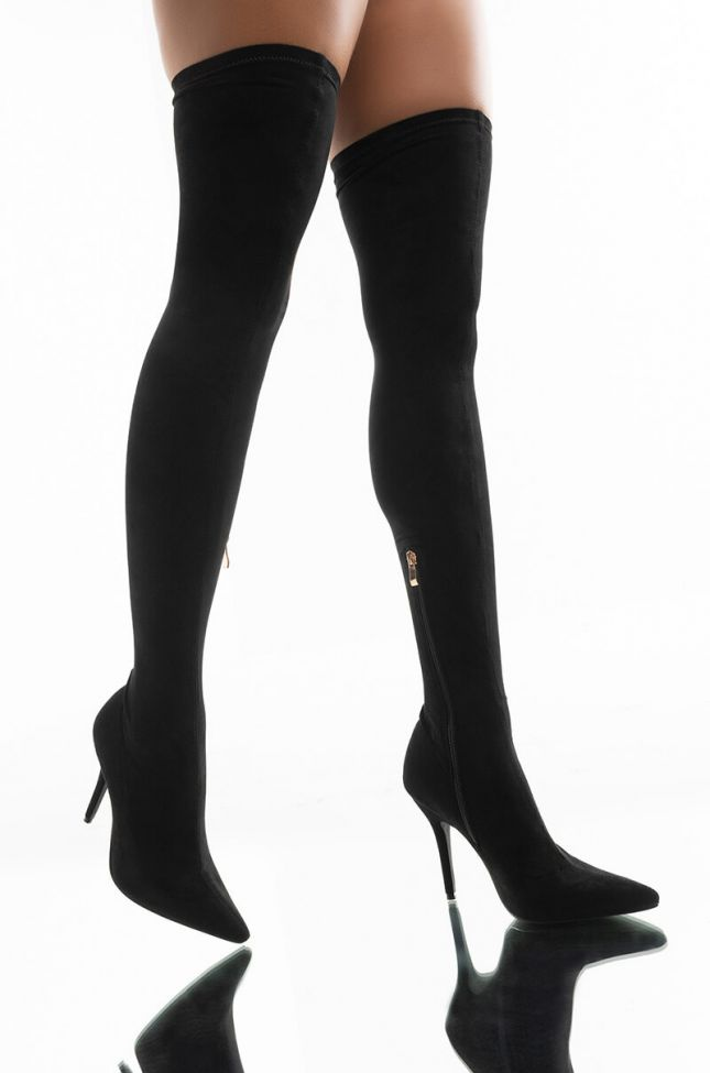 Front View *slim Fit* Azalea Wang Got Me Stuck To You Fitted Thigh High Stiletto Boot