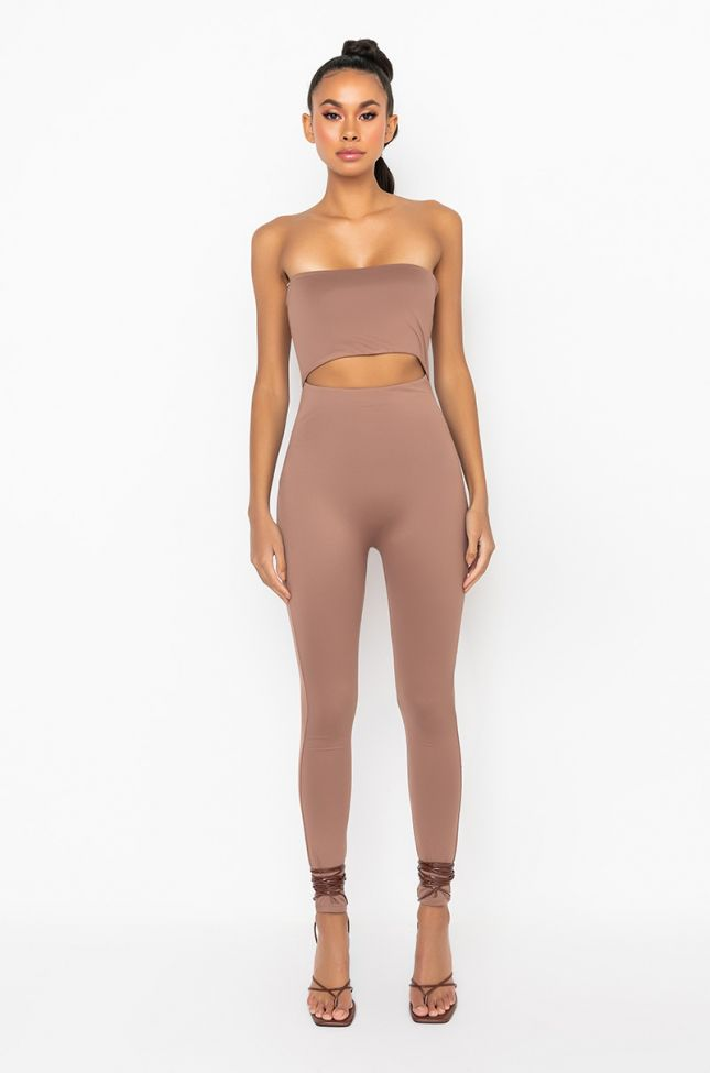 Front View Slim Fit Sleeveless Jumpsuit in Brown