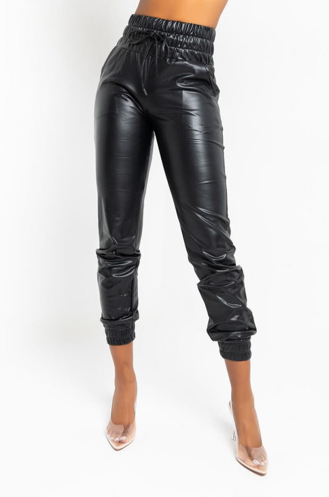 Front View Slim Thicc Faux Leather Jogger in Black