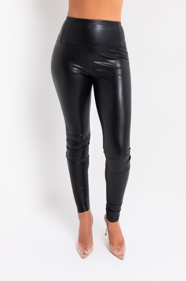 Front View Slim Thicc Faux Leather Leggings  in Black