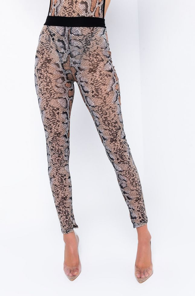 Front View Slither Here Mesh Legging in Black Multi