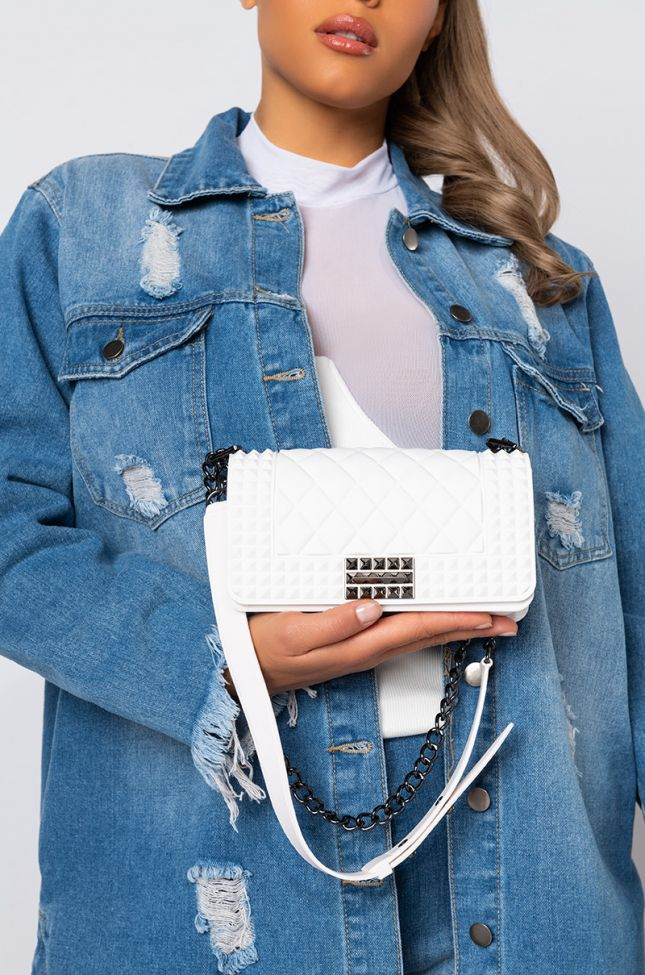Front View Small Quilted Rubber Purse in White