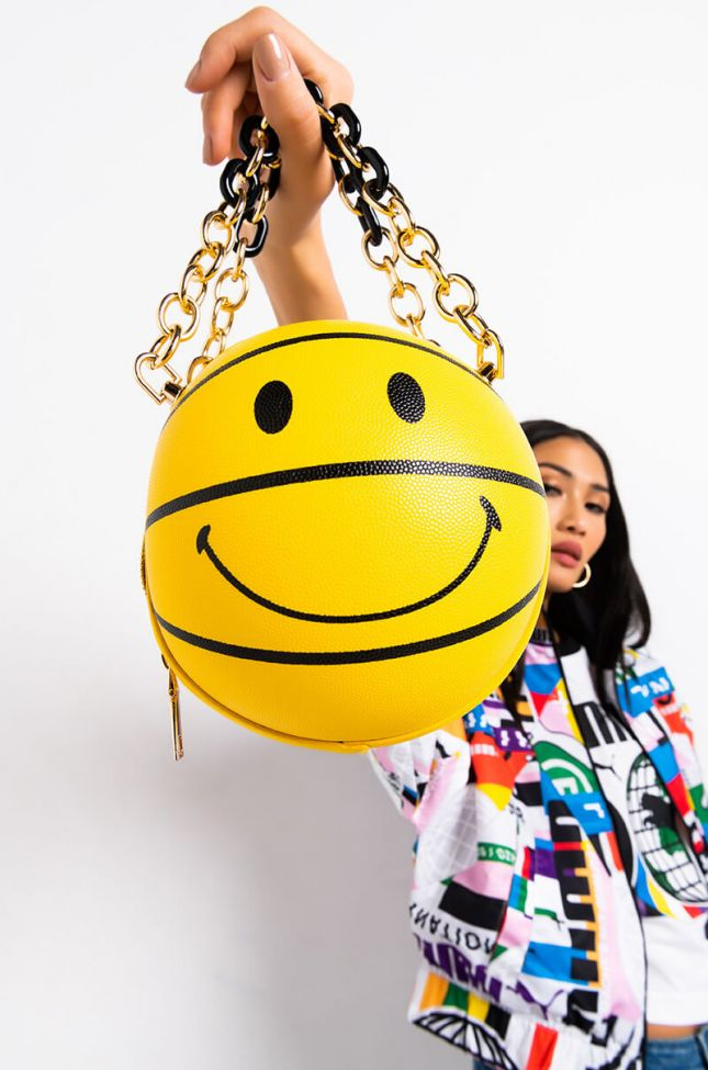 Front View Smile On Basketball Purse in Yellow