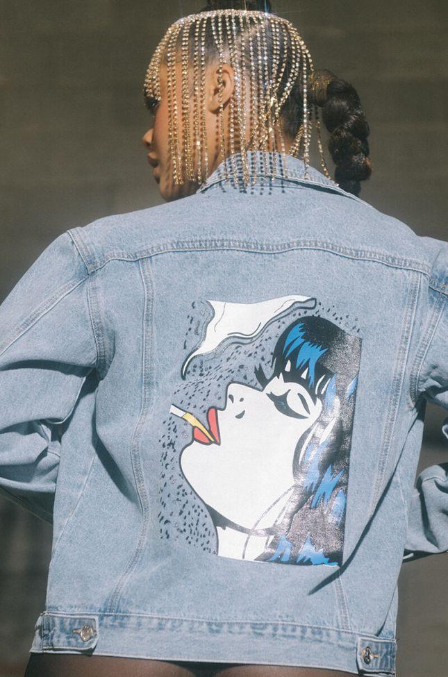 Back View Smoking Kills Oversized Denim Jacket in Light Blue Denim