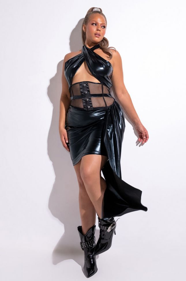 Front View Smooth Operator Faux Leather Wrap Mini Dress