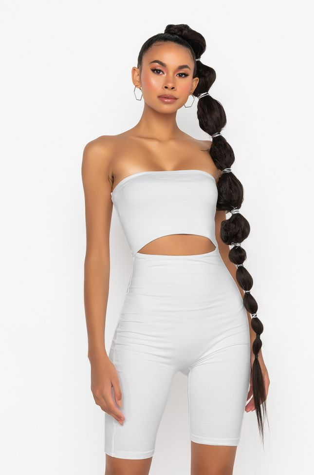 Front View Smoothed Out Cutout Romper in White