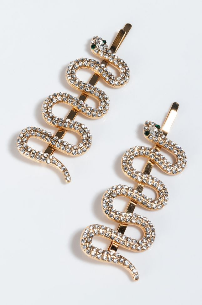 Side View Snake Eyes Hair Clip Set in Gold