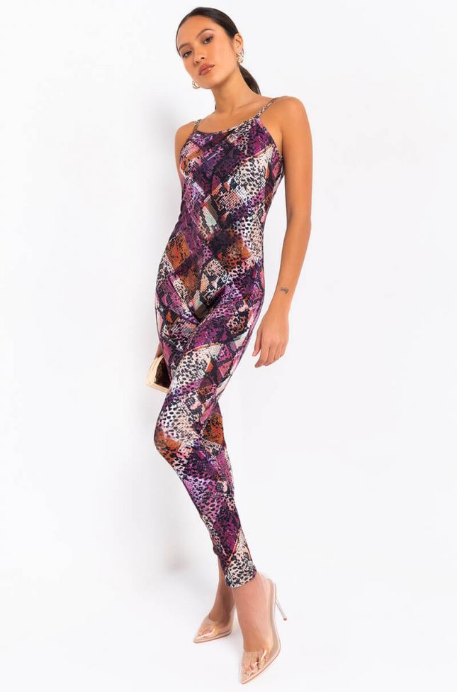 Front View Snake Patchwork Jumpsuit in Purple Multi