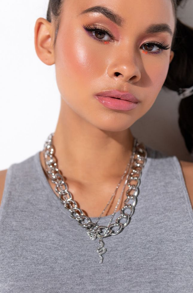Front View Snake V Panther Layered Necklace in Silver
