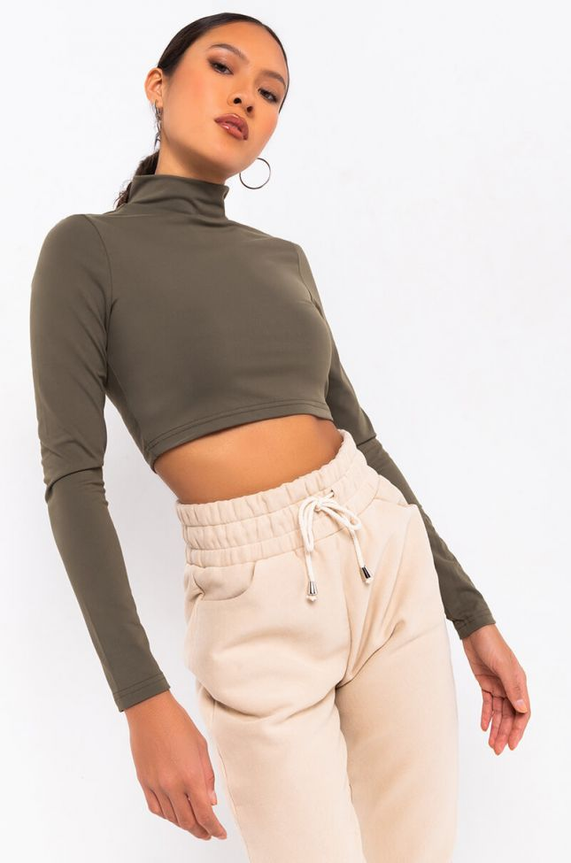 Front View Snatched 2.0 Long Sleeve Crop Top in Olive