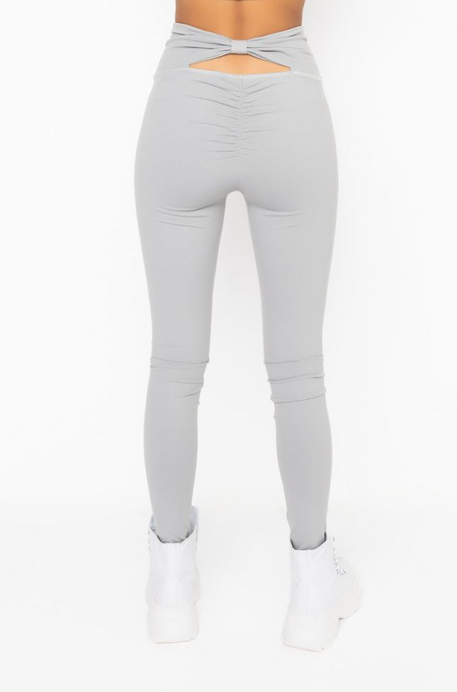 Back View Snatched Back Detail Leggings in Grey
